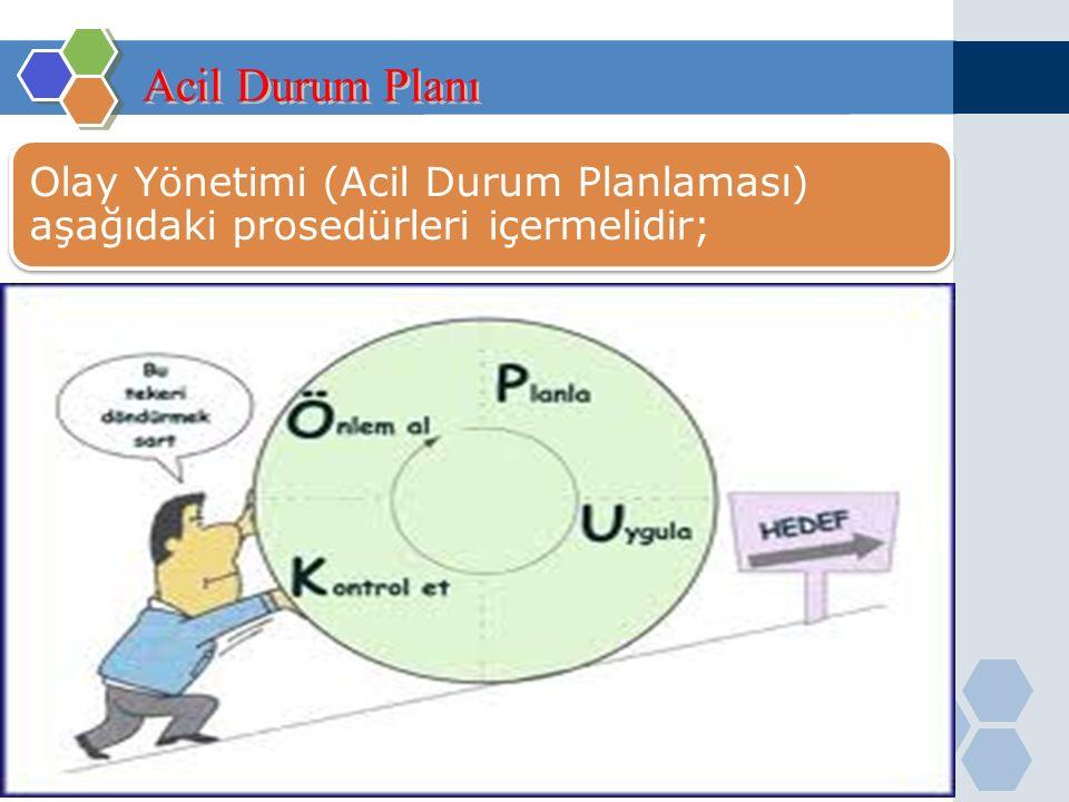 Acil Durum Planı Olay Yönetimi (Acil Durum Planlaması) aşağıdaki prosedürleri içermelidir;