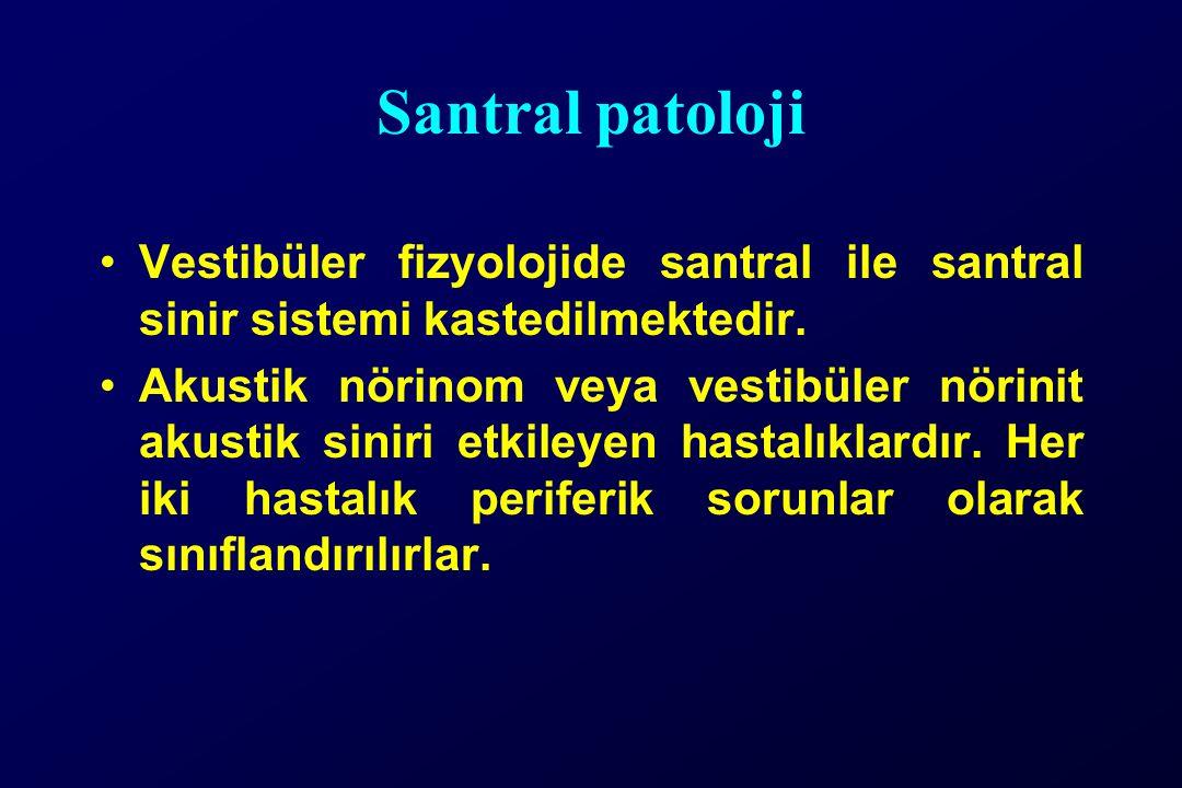 Santral patoloji Vestibüler fizyolojide santral ile santral sinir sistemi kastedilmektedir.