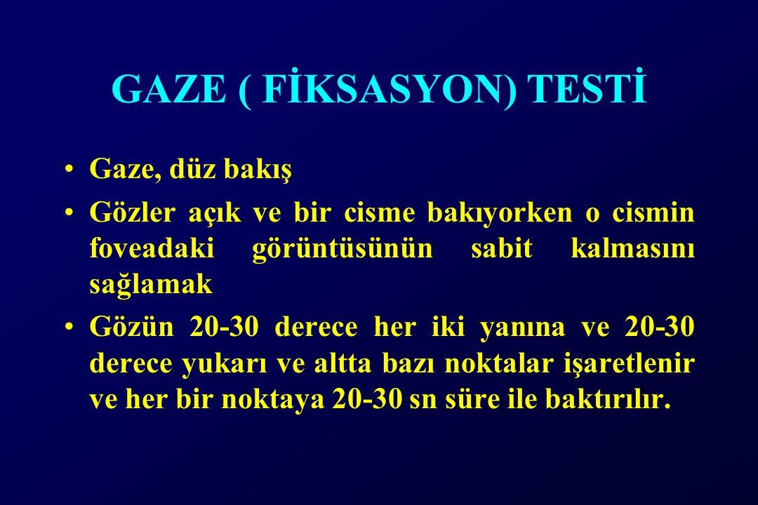 GAZE ( FİKSASYON) TESTİ