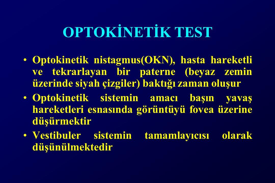 OPTOKİNETİK TEST Optokinetik nistagmus(OKN), hasta hareketli ve tekrarlayan bir paterne (beyaz zemin üzerinde siyah çizgiler) baktığı zaman oluşur.