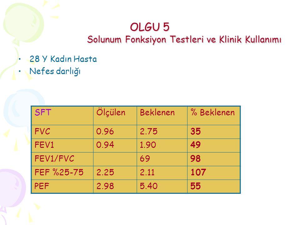 OLGU 5 Solunum Fonksiyon Testleri ve Klinik Kullanımı