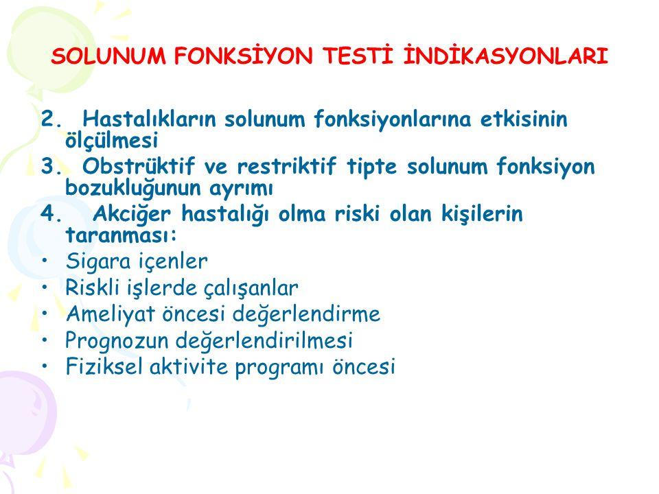 SOLUNUM FONKSİYON TESTİ İNDİKASYONLARI