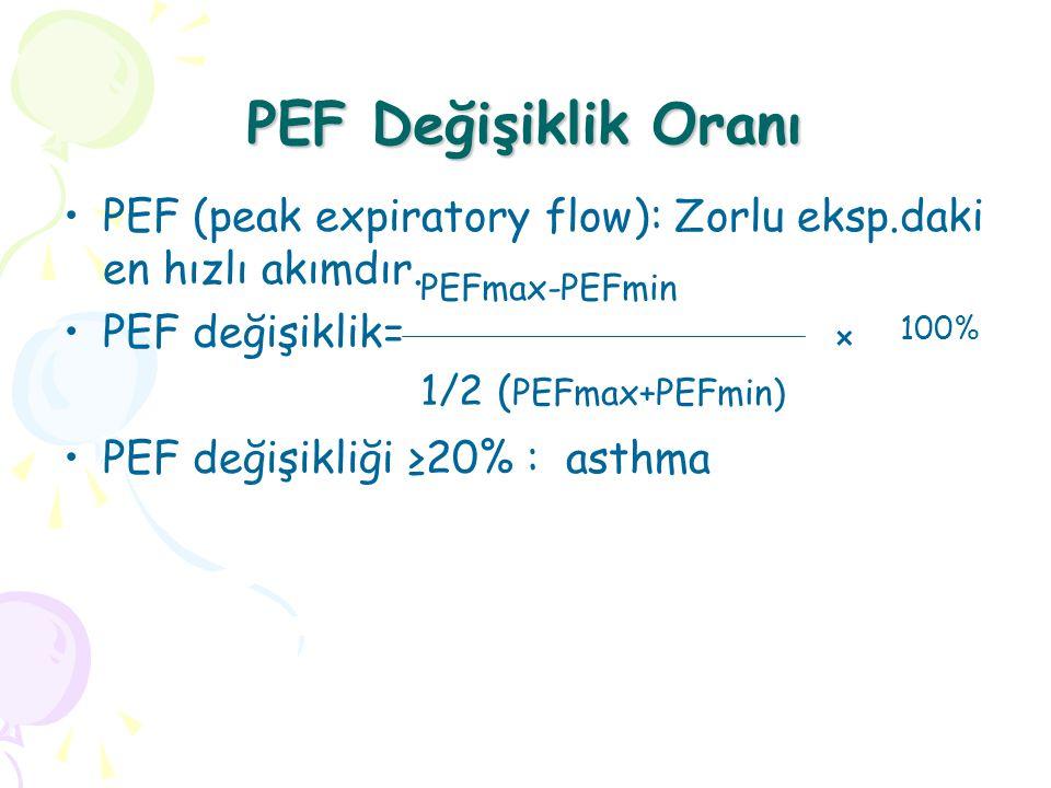 PEF Değişiklik Oranı PEF (peak expiratory flow): Zorlu eksp.daki en hızlı akımdır. PEF değişiklik=