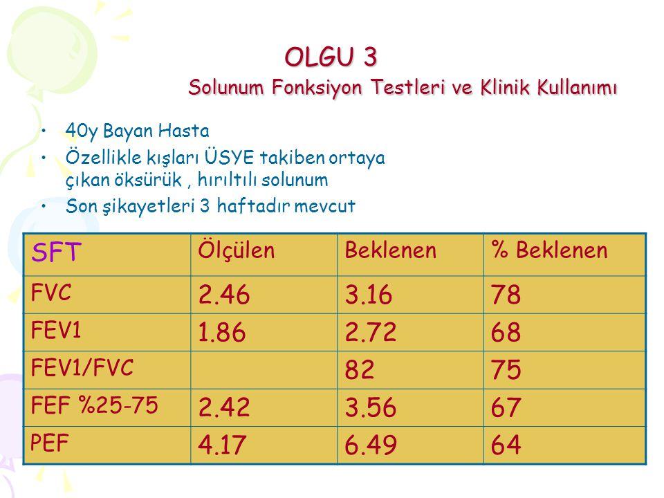 OLGU 3 Solunum Fonksiyon Testleri ve Klinik Kullanımı
