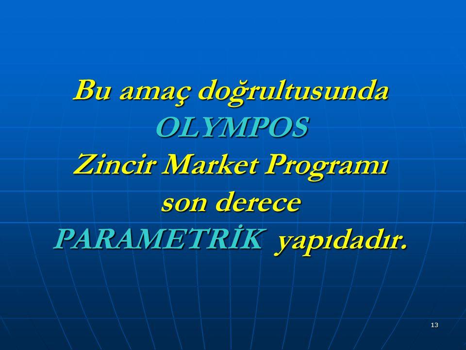 Bu amaç doğrultusunda OLYMPOS Zincir Market Programı son derece PARAMETRİK yapıdadır.
