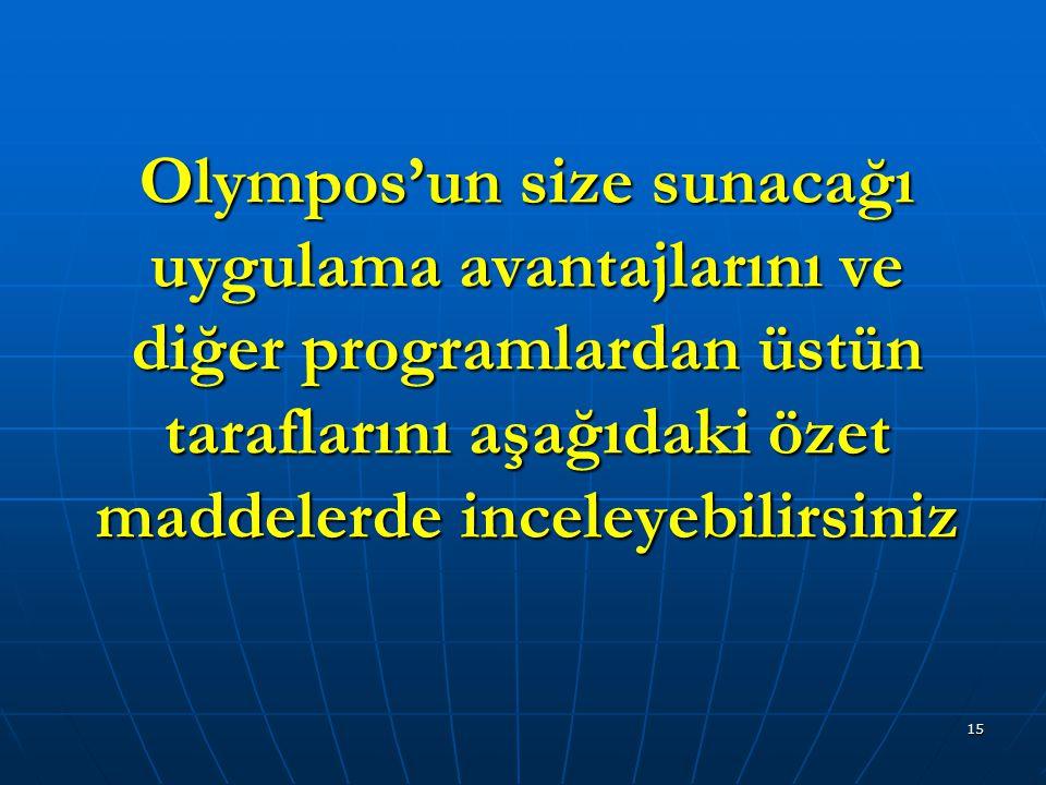 Olympos'un size sunacağı uygulama avantajlarını ve diğer programlardan üstün taraflarını aşağıdaki özet maddelerde inceleyebilirsiniz