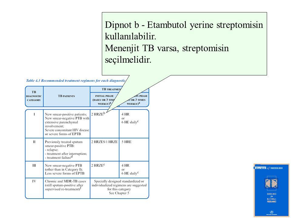 Dipnot b - Etambutol yerine streptomisin
