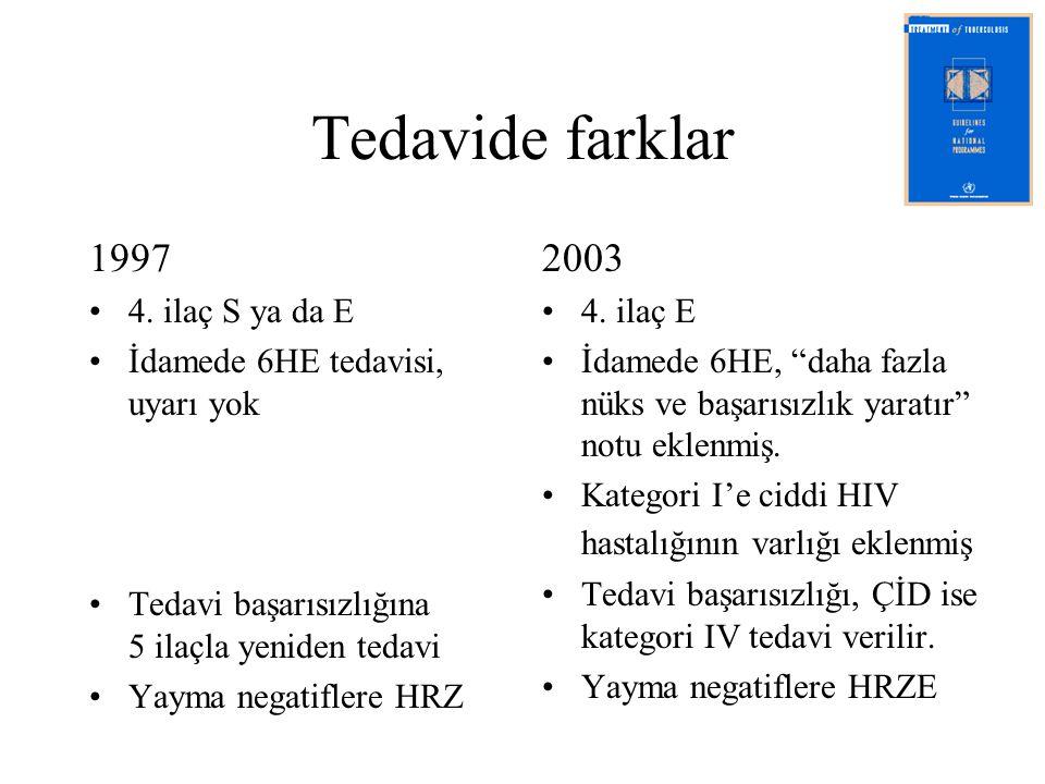 Tedavide farklar 1997 2003 4. ilaç S ya da E