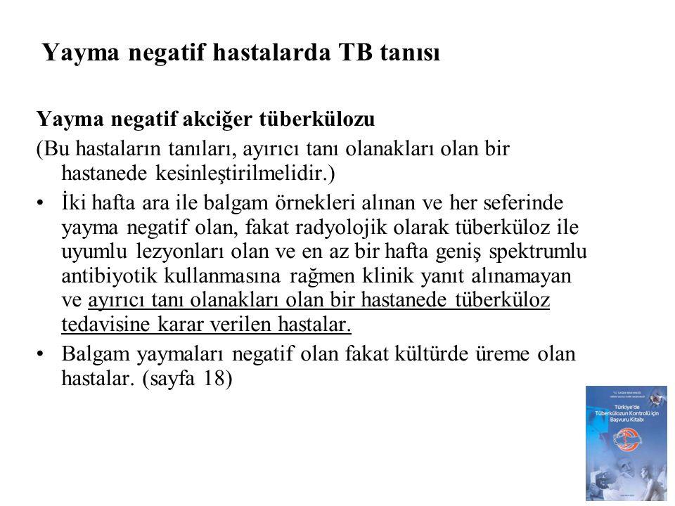 Yayma negatif hastalarda TB tanısı
