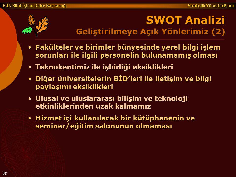 SWOT Analizi Geliştirilmeye Açık Yönlerimiz (2)