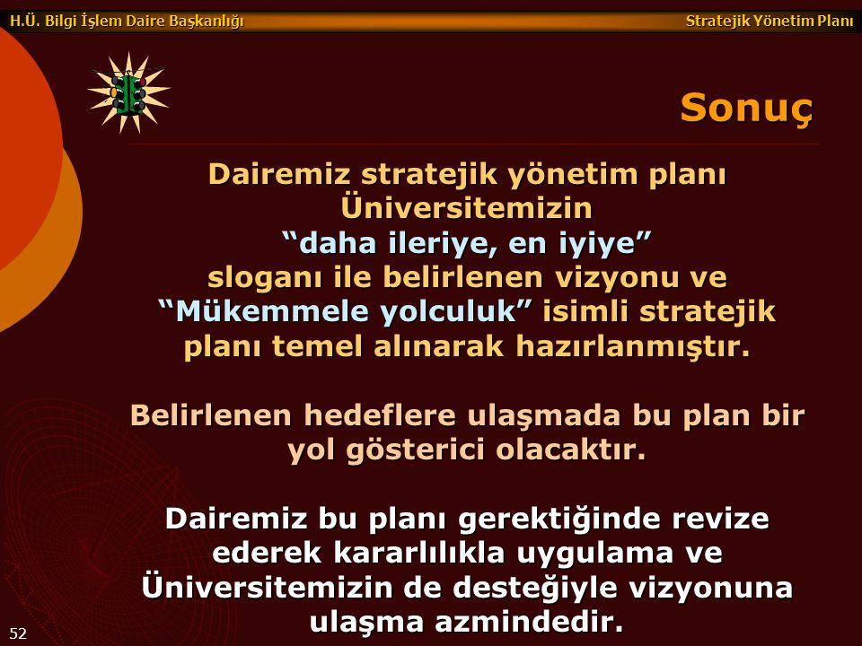 Sonuç Dairemiz stratejik yönetim planı Üniversitemizin