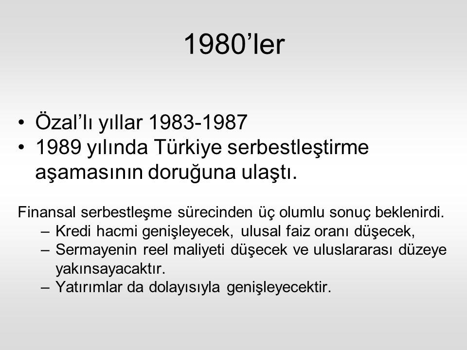 1980'ler Özal'lı yıllar 1983-1987. 1989 yılında Türkiye serbestleştirme aşamasının doruğuna ulaştı.