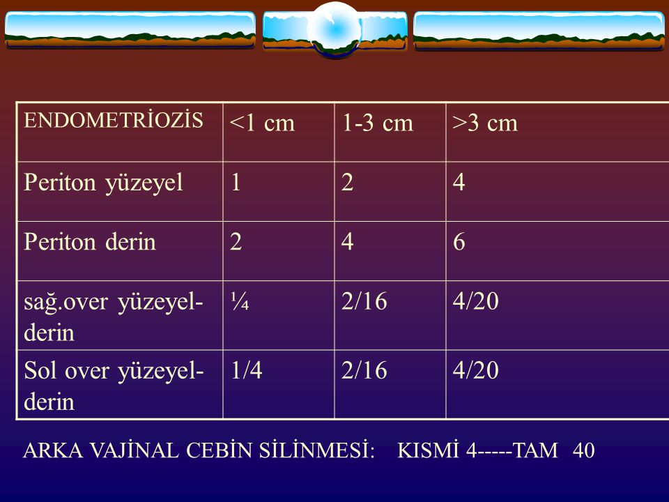 sağ.over yüzeyel-derin ¼ 2/16 4/20 Sol over yüzeyel-derin 1/4