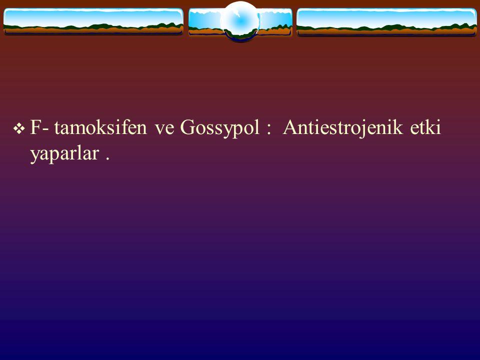 F- tamoksifen ve Gossypol : Antiestrojenik etki yaparlar .