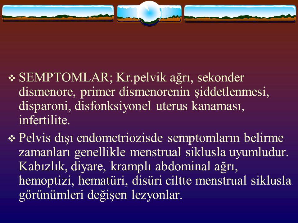 SEMPTOMLAR; Kr.pelvik ağrı, sekonder dismenore, primer dismenorenin şiddetlenmesi, disparoni, disfonksiyonel uterus kanaması, infertilite.