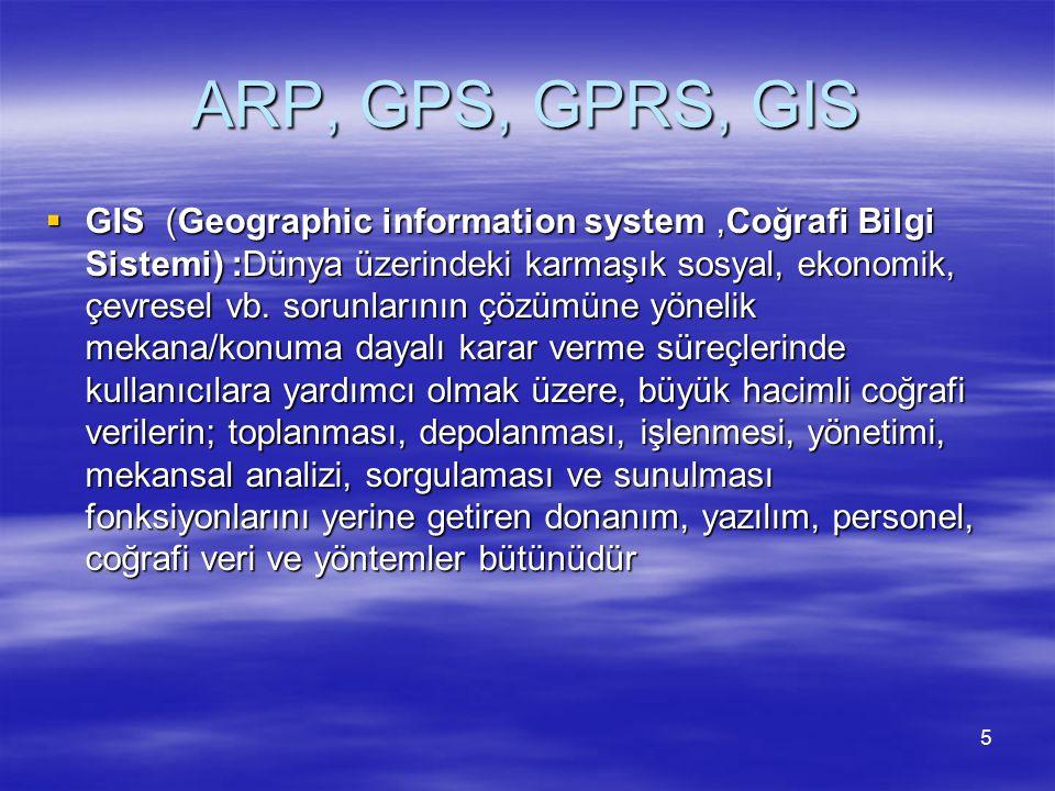 ARP, GPS, GPRS, GIS