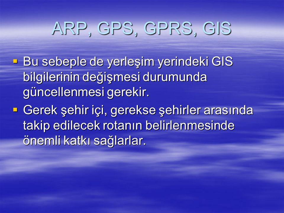 ARP, GPS, GPRS, GIS Bu sebeple de yerleşim yerindeki GIS bilgilerinin değişmesi durumunda güncellenmesi gerekir.