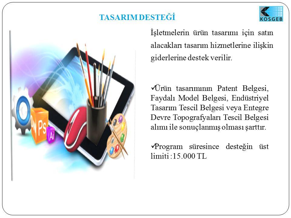 TASARIM DESTEĞİ İşletmelerin ürün tasarımı için satın alacakları tasarım hizmetlerine ilişkin giderlerine destek verilir.