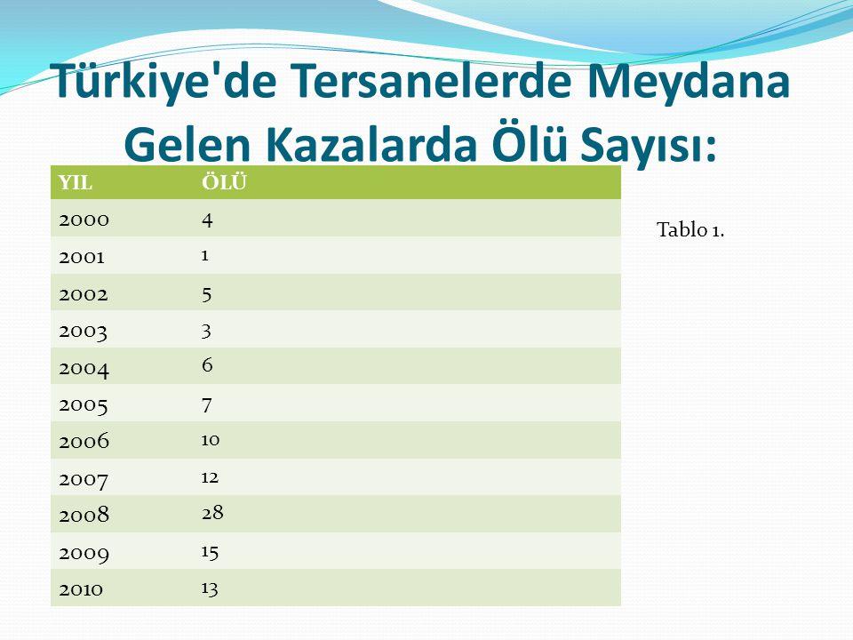 Türkiye de Tersanelerde Meydana Gelen Kazalarda Ölü Sayısı: