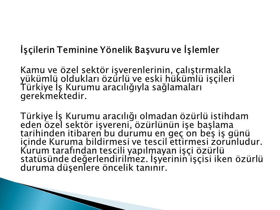 İşçilerin Teminine Yönelik Başvuru ve İşlemler Kamu ve özel sektör işverenlerinin, çalıştırmakla yükümlü oldukları özürlü ve eski hükümlü işçileri Türkiye İş Kurumu aracılığıyla sağlamaları gerekmektedir.