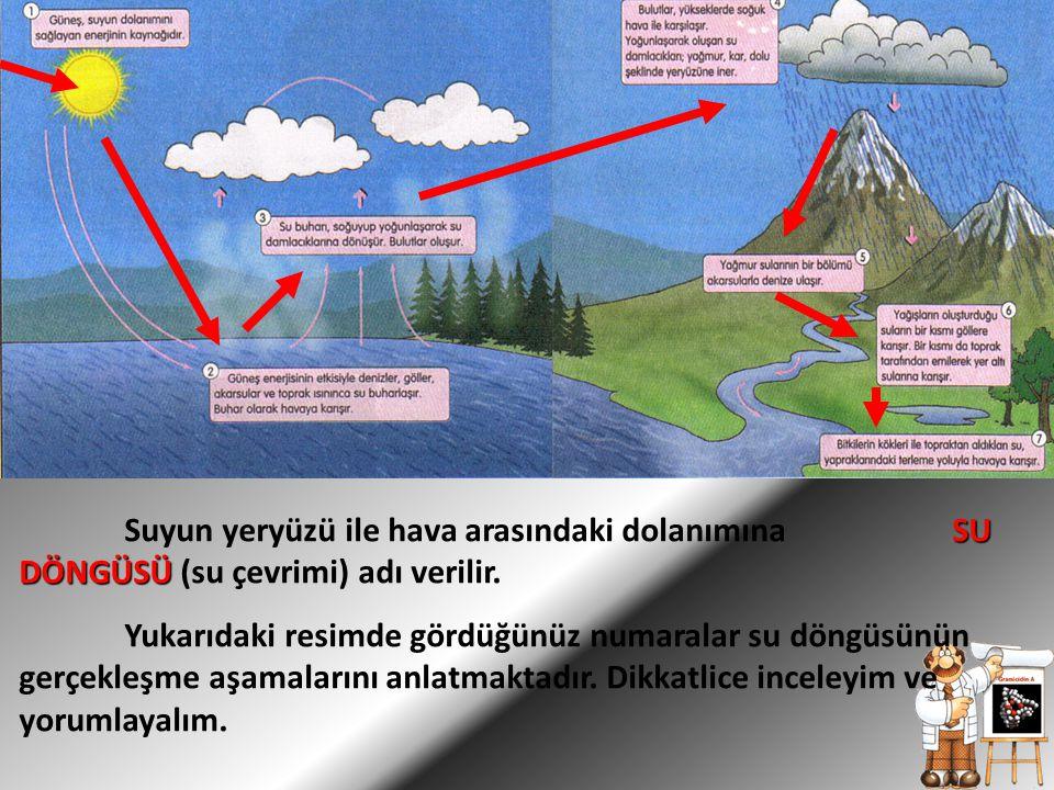 Suyun yeryüzü ile hava arasındaki dolanımına SU DÖNGÜSÜ (su çevrimi) adı verilir.