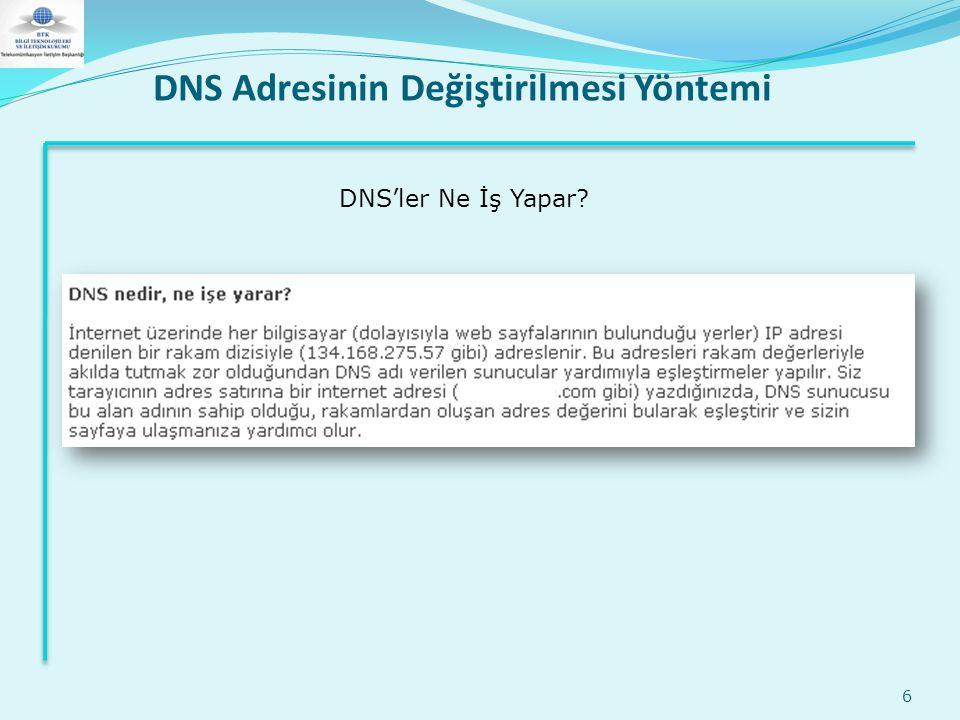 DNS Adresinin Değiştirilmesi Yöntemi