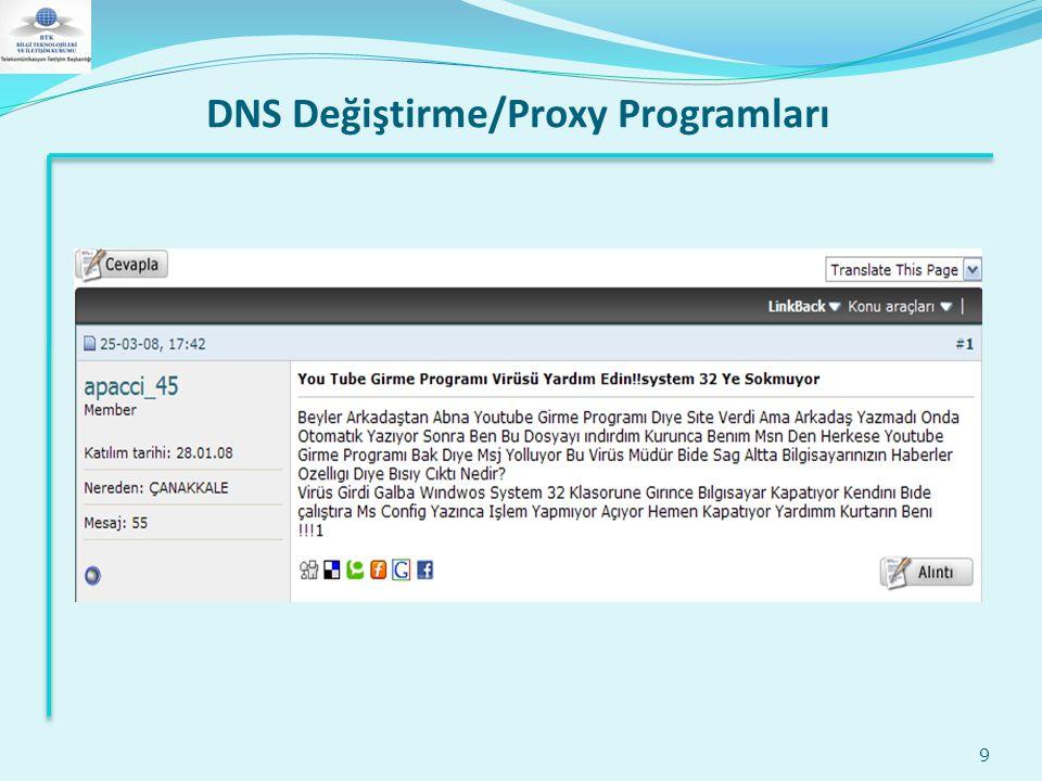 DNS Değiştirme/Proxy Programları