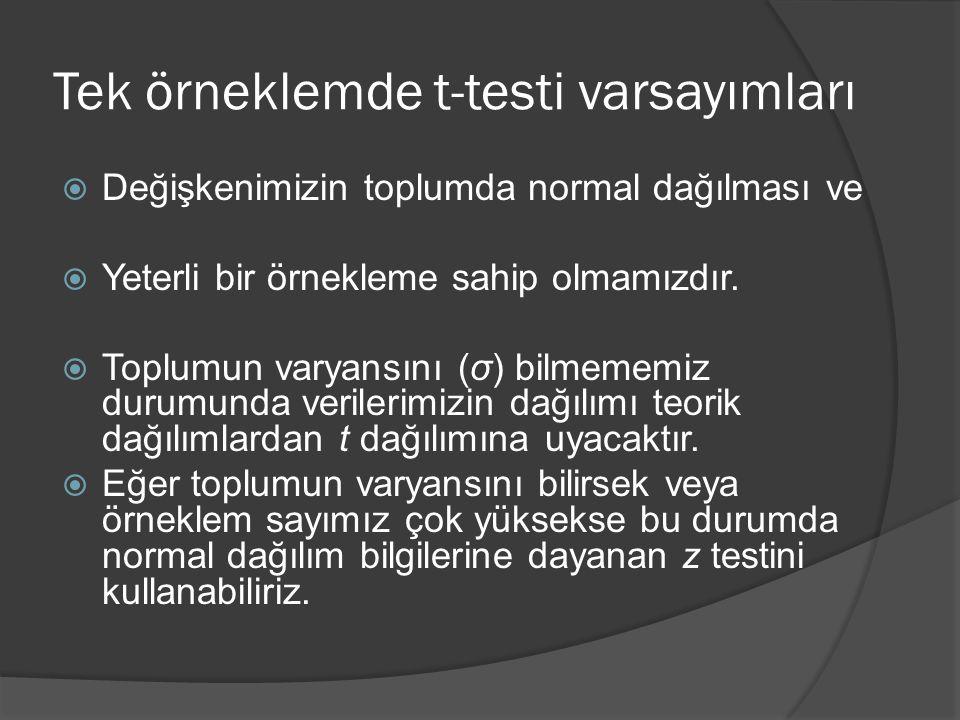 Tek örneklemde t-testi varsayımları