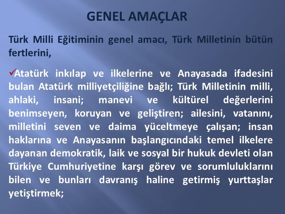 GENEL AMAÇLAR Türk Milli Eğitiminin genel amacı, Türk Milletinin bütün fertlerini,