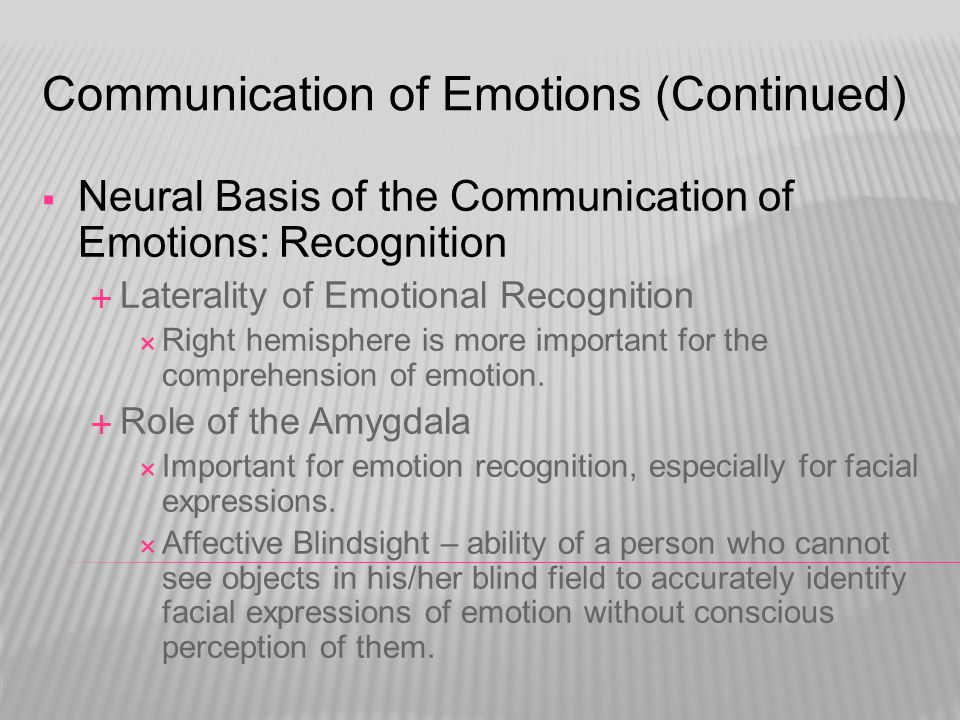 Communication of Emotions (Continued)