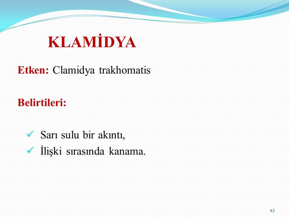 KLAMİDYA Etken: Clamidya trakhomatis Belirtileri:
