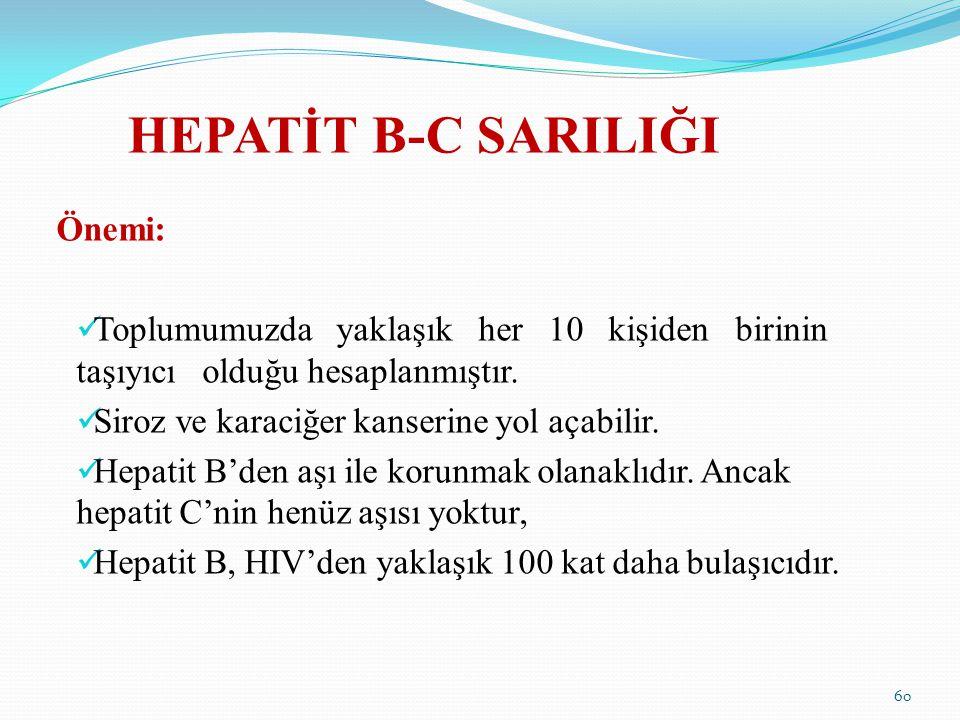 HEPATİT B-C SARILIĞI Önemi: