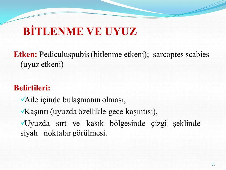 BİTLENME VE UYUZ Etken: Pediculuspubis (bitlenme etkeni); sarcoptes scabies (uyuz etkeni) Belirtileri: