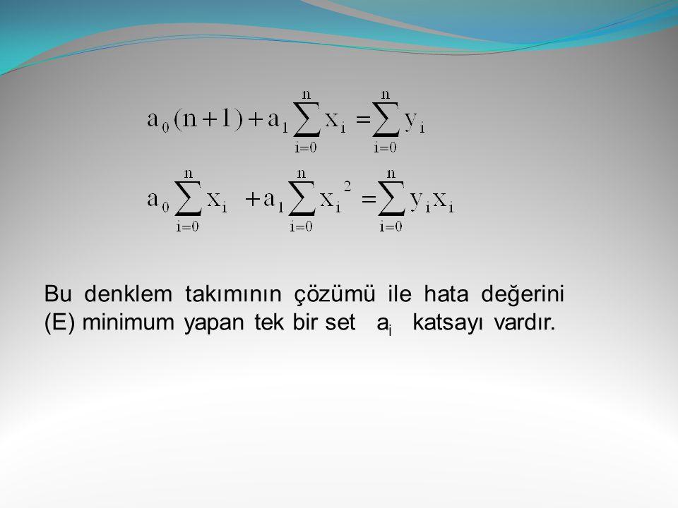 Bu denklem takımının çözümü ile hata değerini (E) minimum yapan tek bir set ai katsayı vardır.