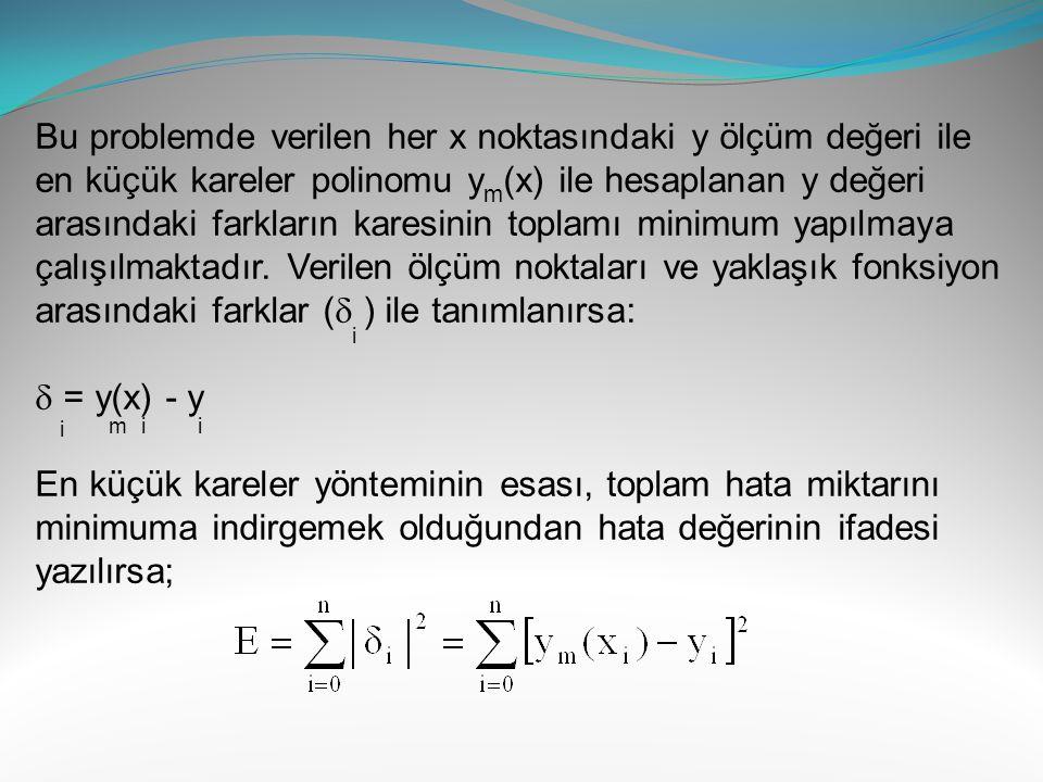 Bu problemde verilen her x noktasındaki y ölçüm değeri ile en küçük kareler polinomu ym(x) ile hesaplanan y değeri arasındaki farkların karesinin toplamı minimum yapılmaya çalışılmaktadır. Verilen ölçüm noktaları ve yaklaşık fonksiyon arasındaki farklar ( ) ile tanımlanırsa: