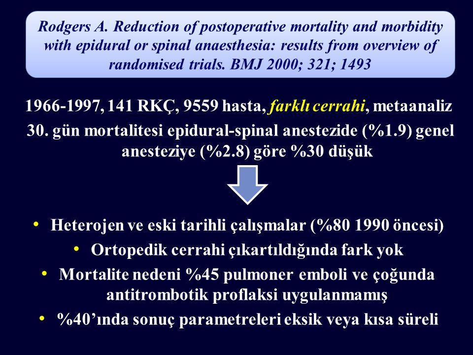 1966-1997, 141 RKÇ, 9559 hasta, farklı cerrahi, metaanaliz
