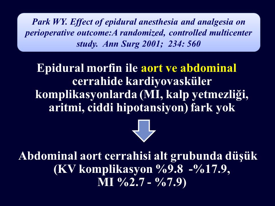 Park WY. Effect of epidural anesthesia and analgesia on perioperative outcome:A randomized, controlled multicenter study. Ann Surg 2001; 234: 560