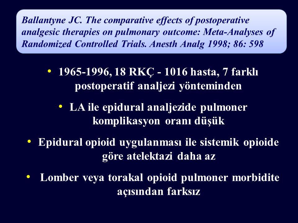 LA ile epidural analjezide pulmoner komplikasyon oranı düşük