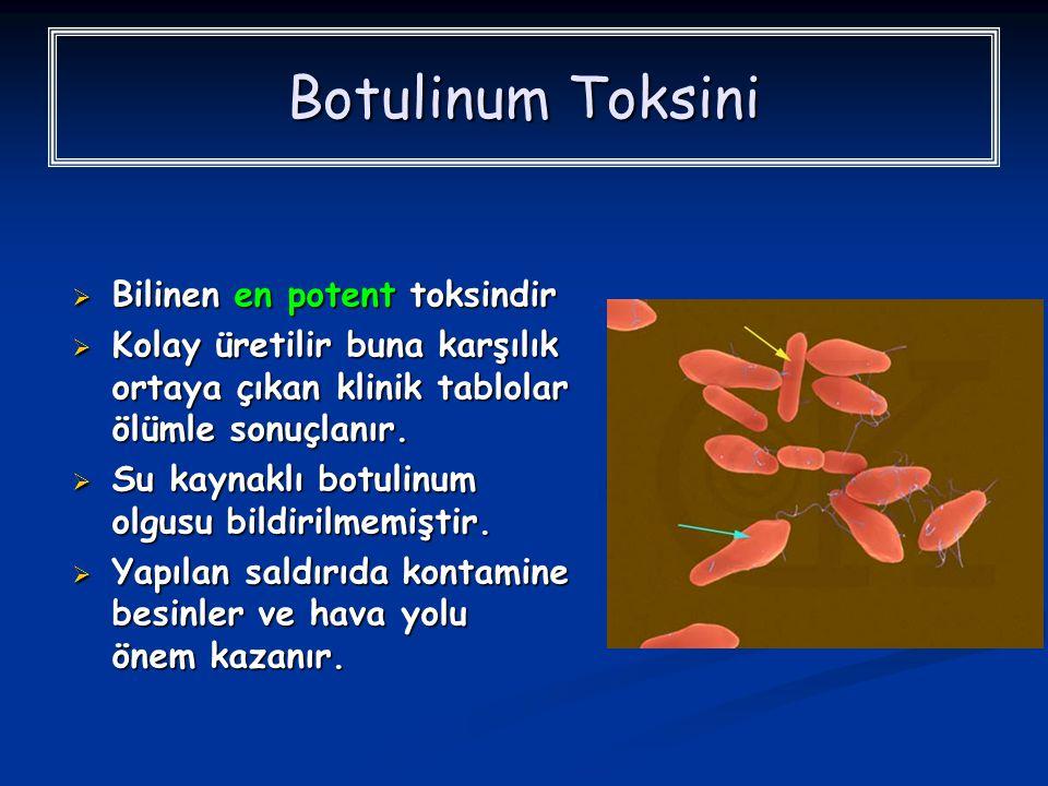 Botulinum Toksini Bilinen en potent toksindir