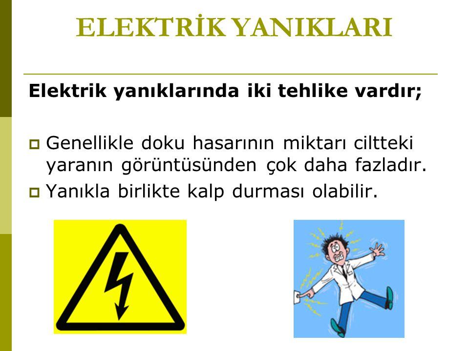 ELEKTRİK YANIKLARI Elektrik yanıklarında iki tehlike vardır;