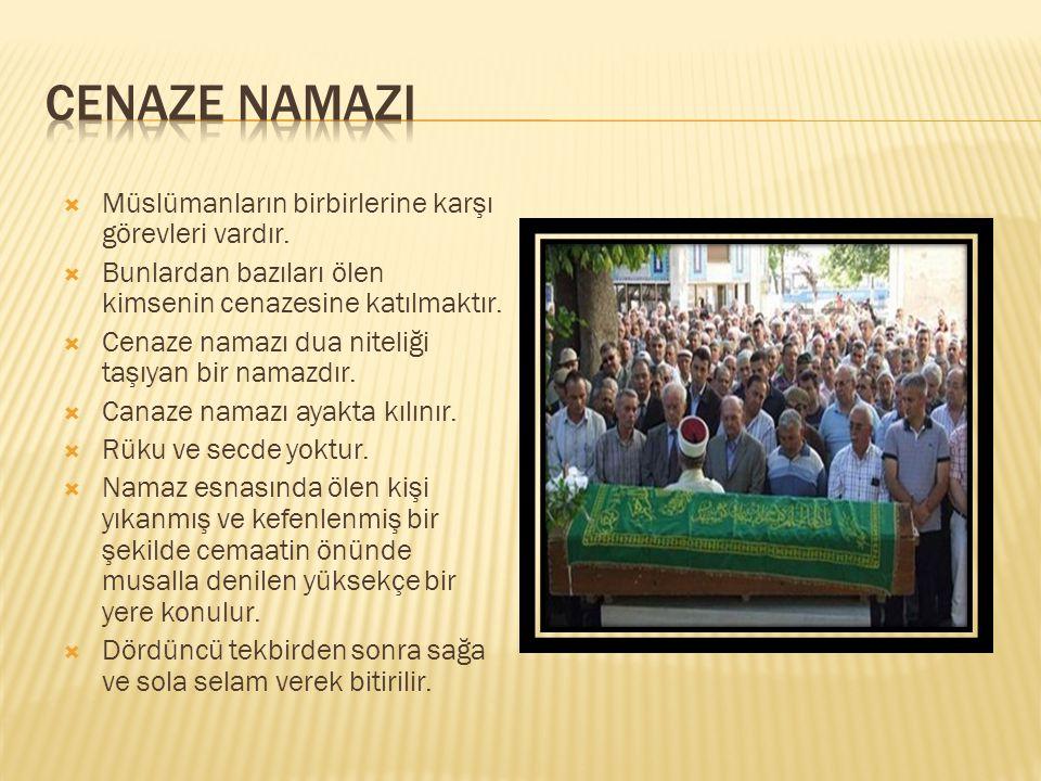 CENAZE NAMAZI Müslümanların birbirlerine karşı görevleri vardır.