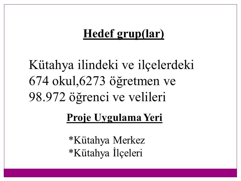 Hedef grup(lar) Kütahya ilindeki ve ilçelerdeki 674 okul,6273 öğretmen ve 98.972 öğrenci ve velileri.
