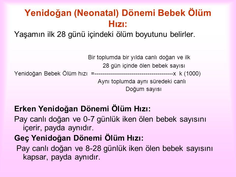 Yenidoğan (Neonatal) Dönemi Bebek Ölüm Hızı:
