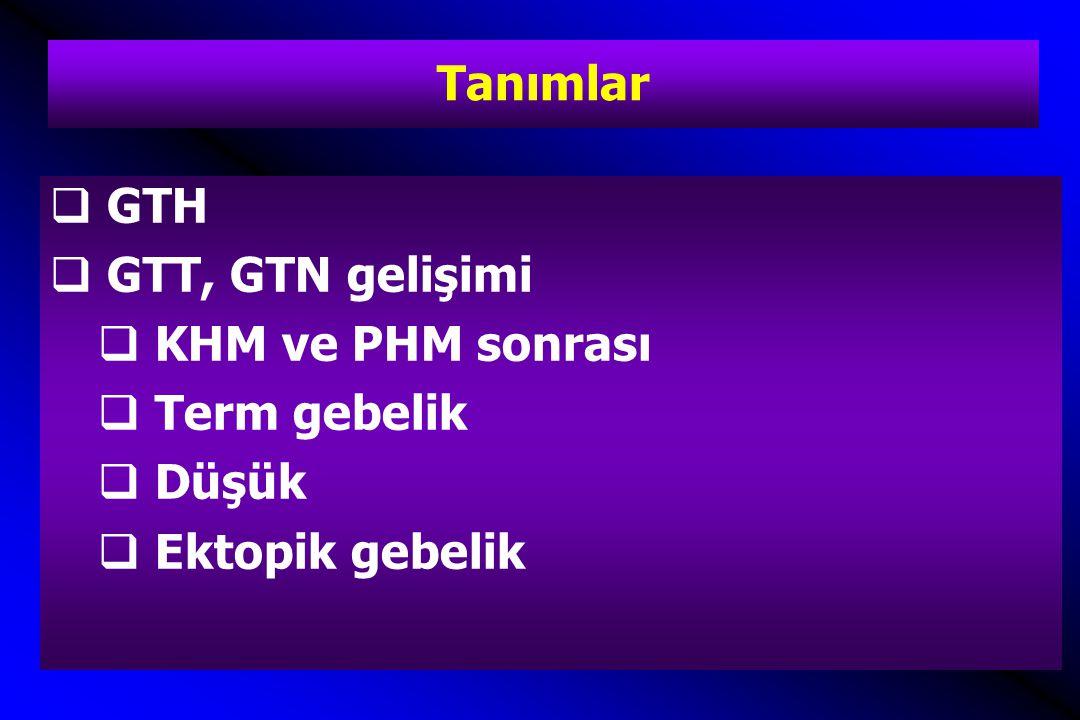 Tanımlar GTH GTT, GTN gelişimi KHM ve PHM sonrası Term gebelik Düşük Ektopik gebelik