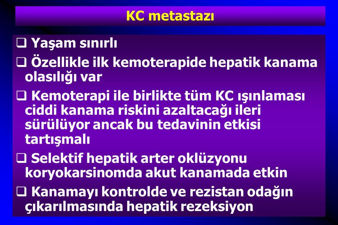 KC metastazı Yaşam sınırlı. Özellikle ilk kemoterapide hepatik kanama olasılığı var.
