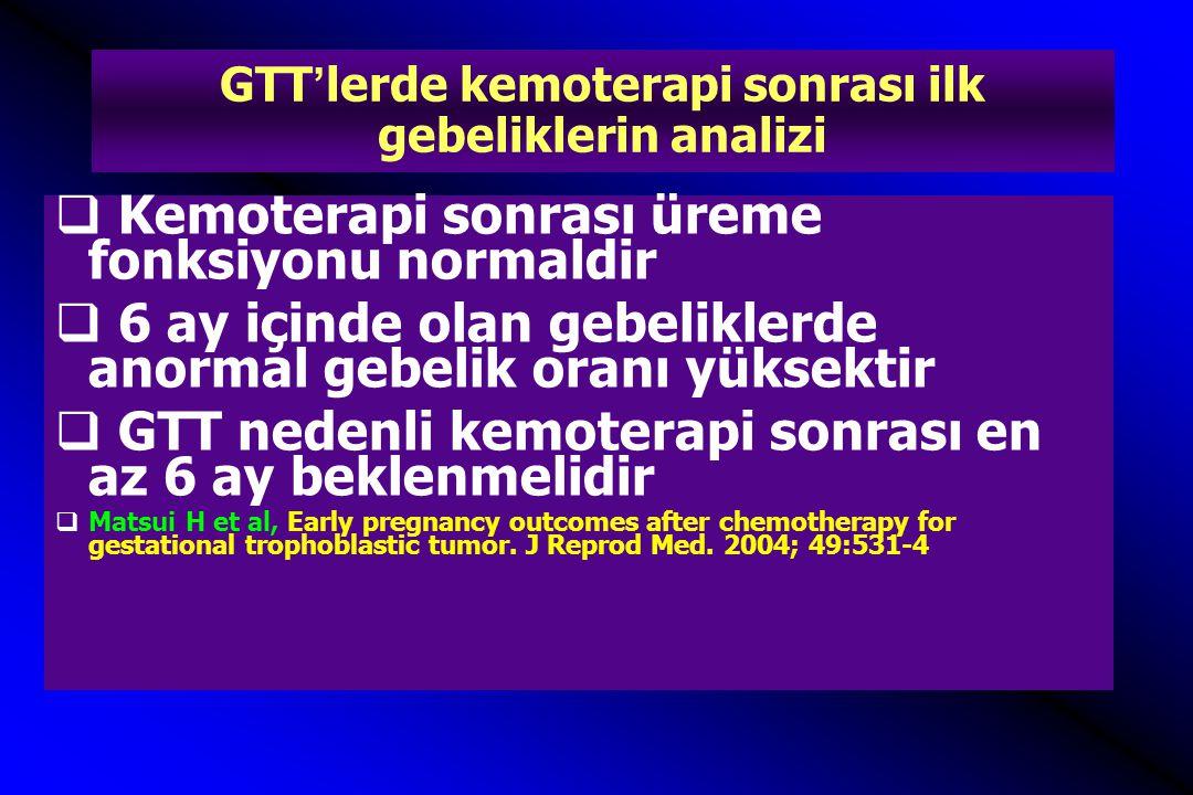 GTT'lerde kemoterapi sonrası ilk gebeliklerin analizi