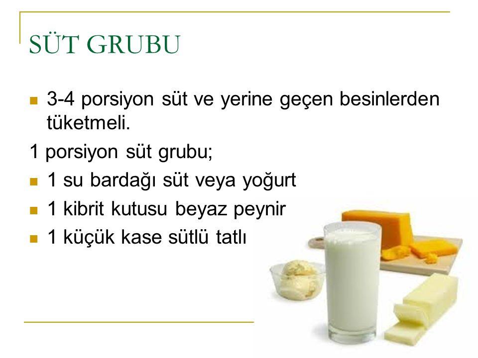 SÜT GRUBU 3-4 porsiyon süt ve yerine geçen besinlerden tüketmeli.