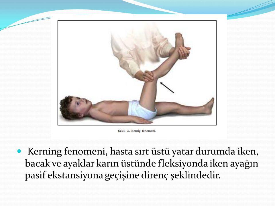 Kerning fenomeni, hasta sırt üstü yatar durumda iken, bacak ve ayaklar karın üstünde fleksiyonda iken ayağın pasif ekstansiyona geçişine direnç şeklindedir.