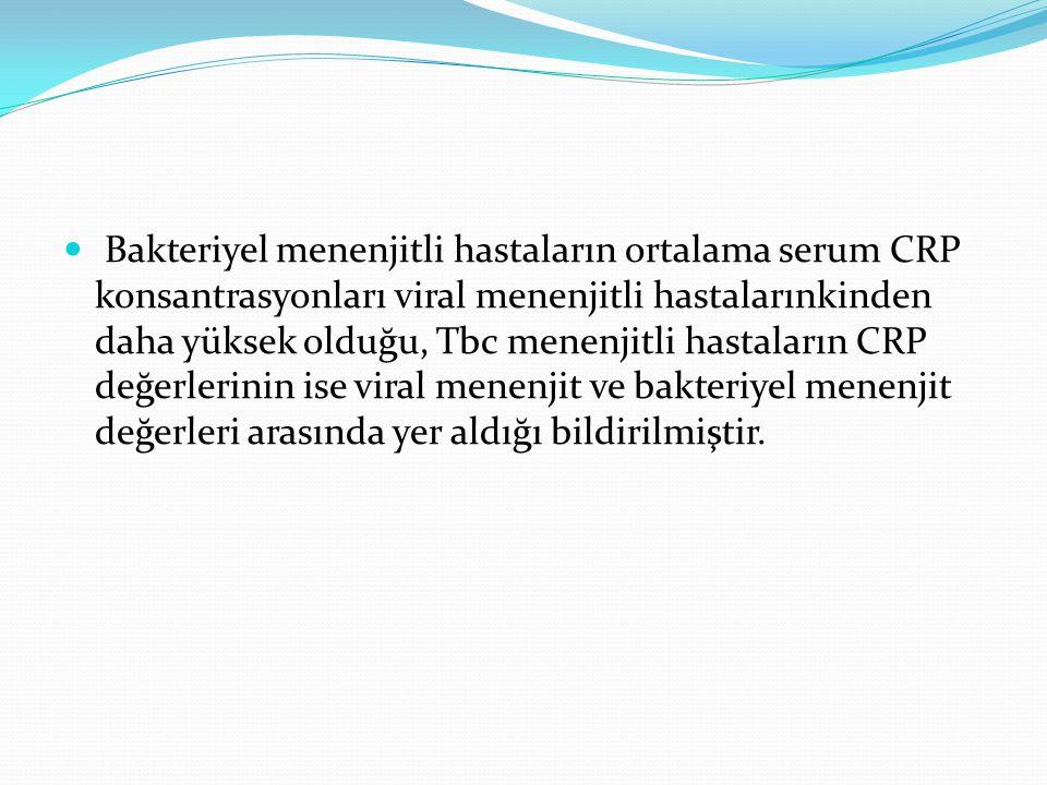 Bakteriyel menenjitli hastaların ortalama serum CRP konsantrasyonları viral menenjitli hastalarınkinden daha yüksek olduğu, Tbc menenjitli hastaların CRP değerlerinin ise viral menenjit ve bakteriyel menenjit değerleri arasında yer aldığı bildirilmiştir.
