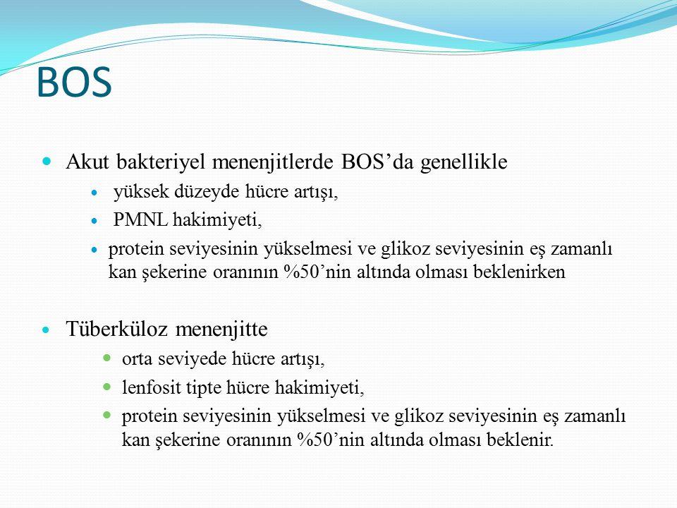 BOS Akut bakteriyel menenjitlerde BOS'da genellikle